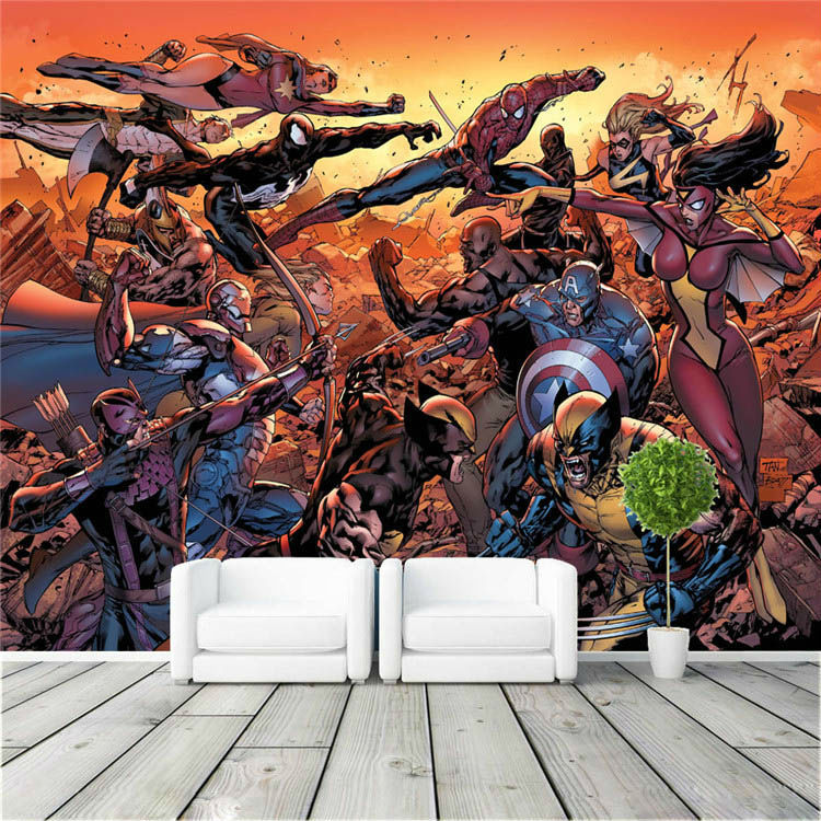 Cartoon avengers photo wallpaper movie wall mural marvel for Cartoon mural wallpaper
