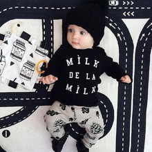 2015 New Spring Baby Clothing Sets 2PC suits Round-neck Baby Shirt+Pants 100% Cotton Baby boys girls Tracksuits Free shipping(China (Mainland))