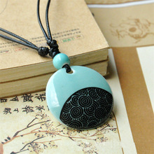 Free shipping chinese style necklace stone natural Handmade ceramic necklace trend necklace national small accessories women(China (Mainland))