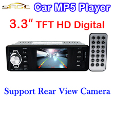 "3.3"" Inch TFT Screen Car MP5 Player Rear View Camera HD Stereo 12V FM Radio 5V Charger MP3 MP4 Audio Video USB SD AUX 1 DIN(China (Mainland))"