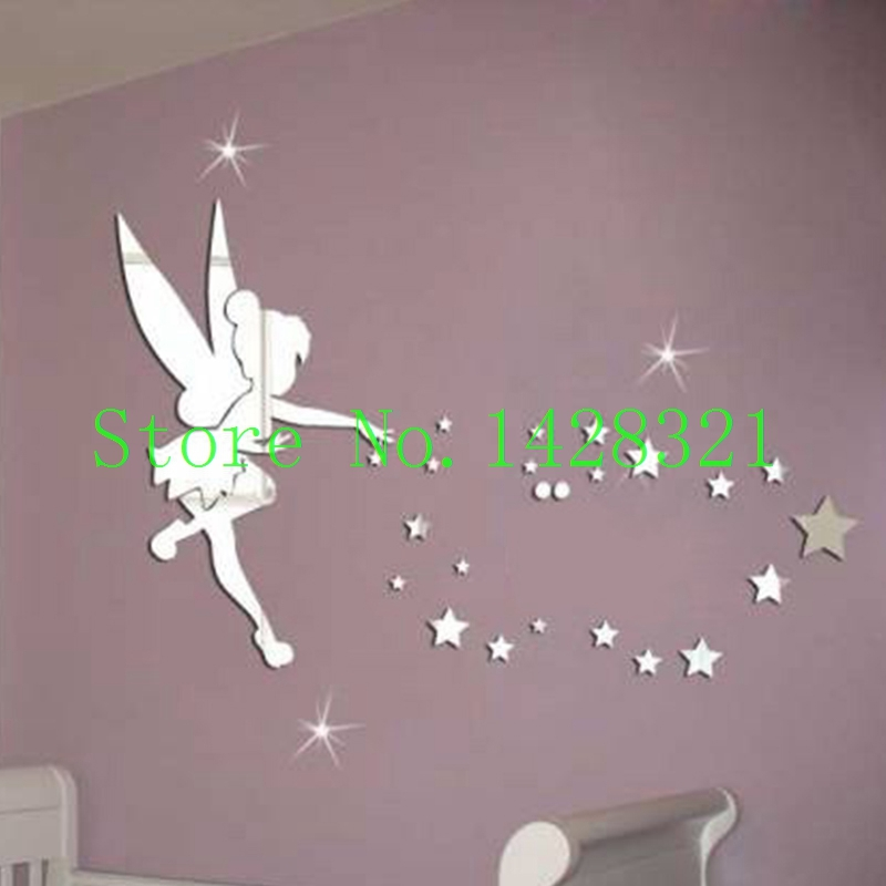 Free shipping 70x46 (27.5x18inch) Tinker Bell Fairy Princess and Star channel wall decals cartoon stickers mirror Girl Wall Art(China (Mainland))