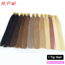 """H.P.W.Top quality 16""""18""""20""""22""""24"""" 0.8g/s pre bonded stick keratin I tip real hair extension very smooth not tangle 100s 12colors(China (Mainland))"""