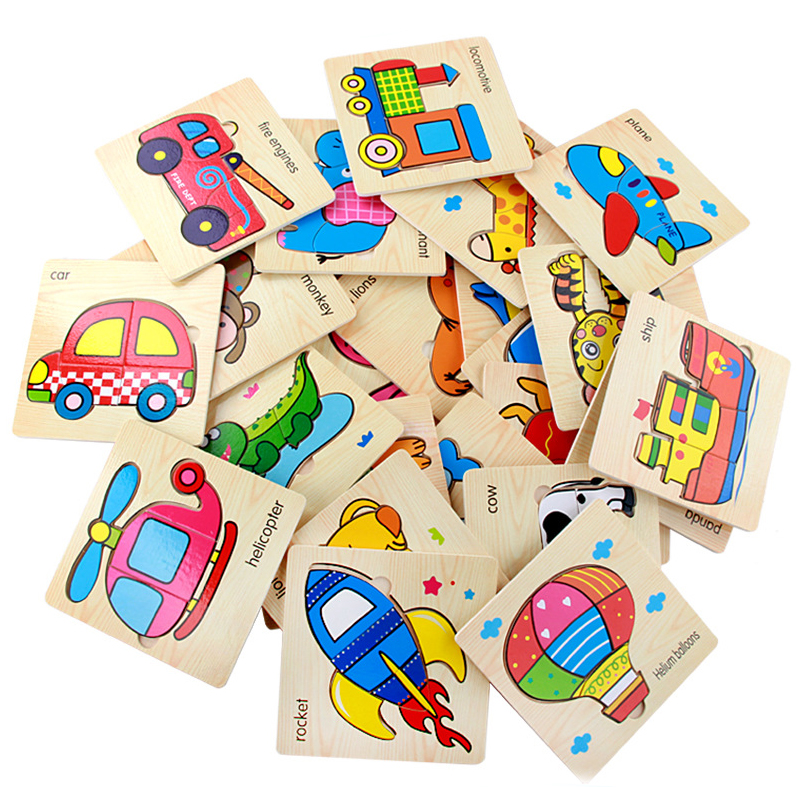 5PCS/Lot Baby Cartoon Wooden 3D Puzzle For Children Educational Toys Fruit Animal Learning Graph Matching Cards For Children(China (Mainland))