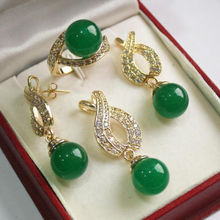 12mm Green jade Pendant Necklace Earrings Ring set  AA(China (Mainland))