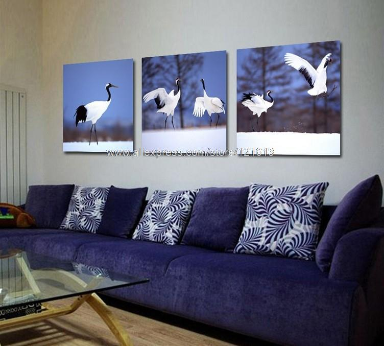 3 Piece Wall Art Home Decor On The Wall Red Crowned Cranes Modern Set Dining Room Paintings Wall Decor Landscape Canvas Bed(China (Mainland))