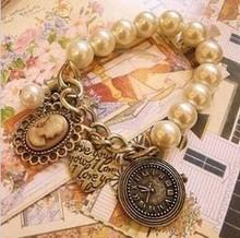 2015 Bangle Men/Women/girl Bangle Bohemian Bronze Heart Queen Pearl Vintage Bracelet Bangel B2024(China (Mainland))