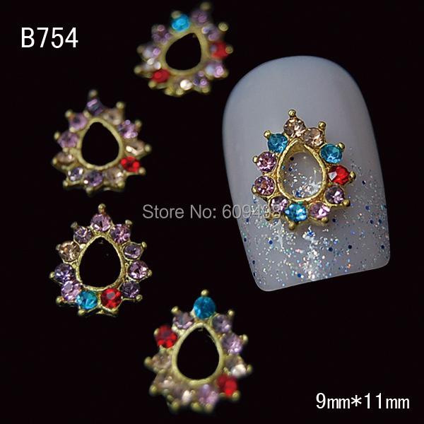 B754 50pcs/lot Mix Rhinestone flower 3d stud nails decorations sticker jewelry nail supplies metal nail art accessories(China (Mainland))