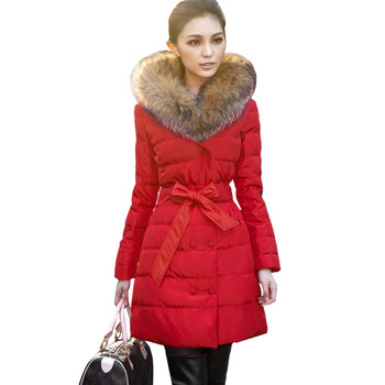 Куртка, осень и зима женщины с большие мех воротник толстый тёплый верхняя одежда ...