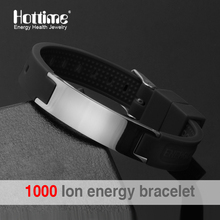 free shipping black (colour) silicone wristband 4 in 1 bio elements energy stainless steel magnetic bracelet for men