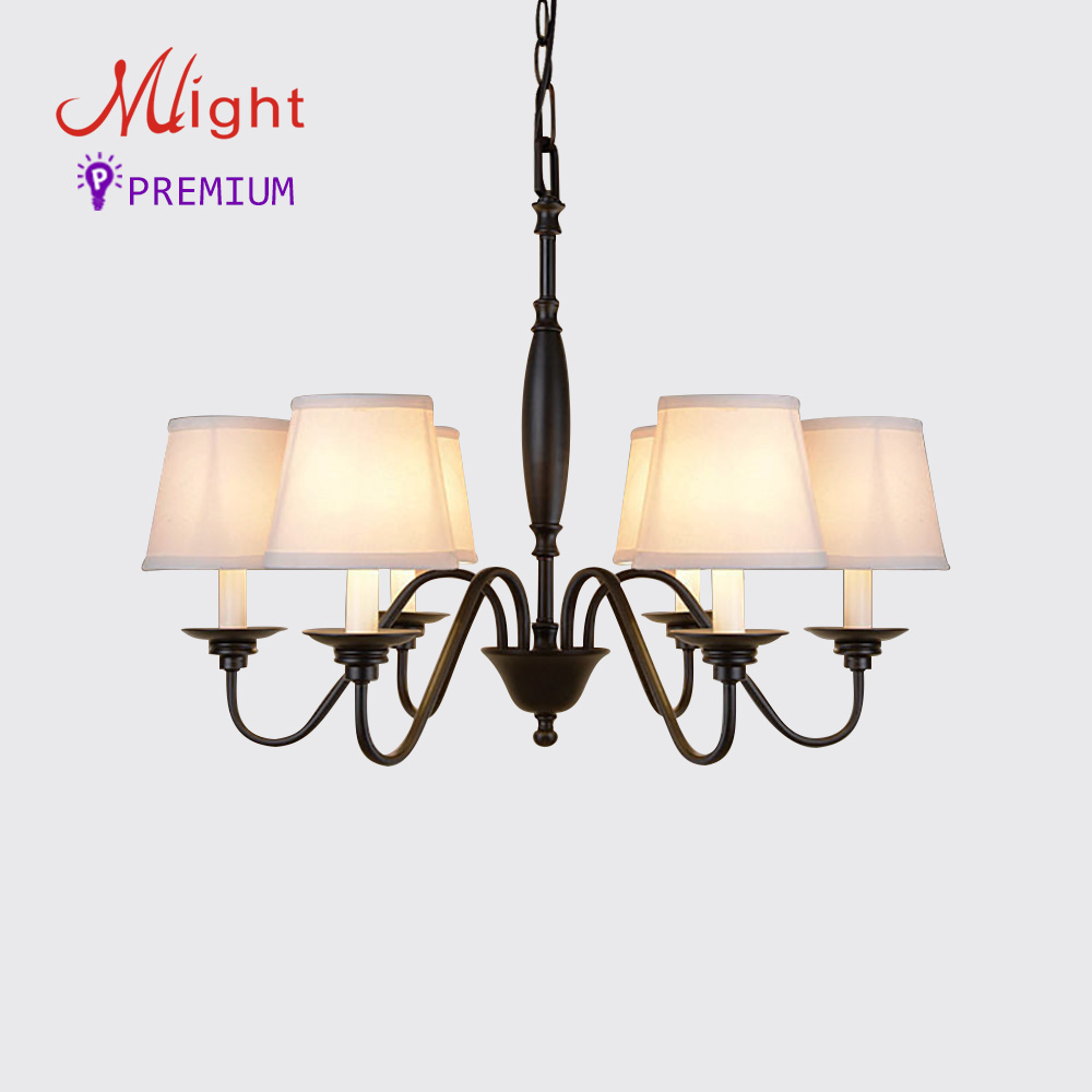 Online buy wholesale chandelier 6 shades from china chandelier 6 6 arms simple iron chandelier study pastoral cloth shade living room dining room bedroom chandeliers arubaitofo Image collections