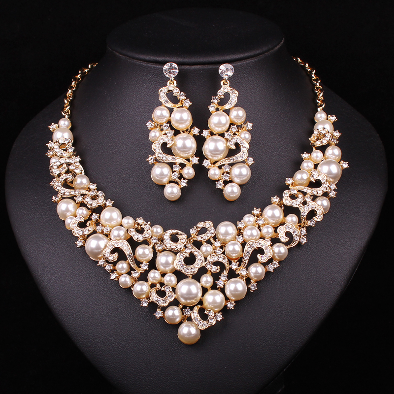Bridal Jewelry Sets Wedding Necklace Earring For Brides Party Accessories Gold Plated Pearl
