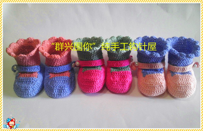 Handmade knitted crocheted autumn winter baby soft outsole toddler shoes knitting wool yarn high-top - The sun hand weaving shop store