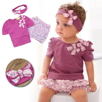 2016 Fashion Cute Baby Girls 3pcs Clothes set Baby Vest Dress Tops + Short Pants + Floral Headband Summer Toddler Baby Outfits