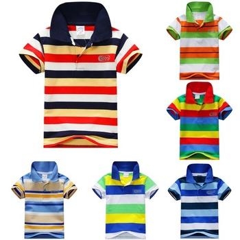 COCKCON Baby Boys Kid Tops T-Shirt Summer Short Sleeve T Shirt Striped Polo Shirt Tops