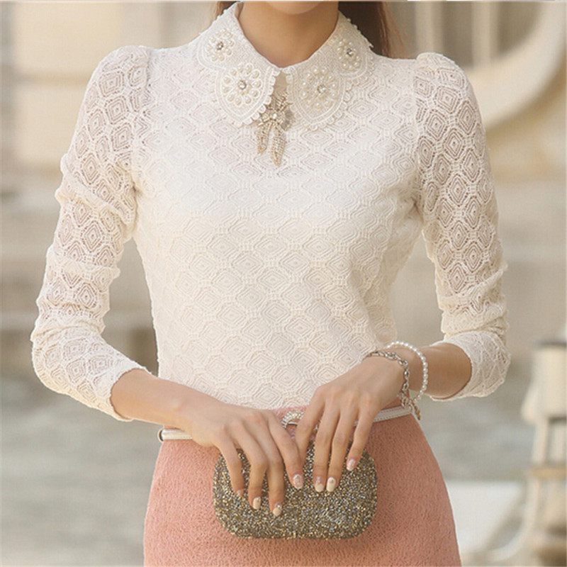 Popular Women Tops Spring 2016 Vintage Ladies Lace Top Long Sleeve Shirt Women
