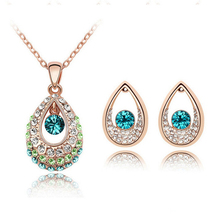 Fashion Bridal Jewelry Sets Hot Sale Classic White/ Gold Plated Water Drop Crystal Rhinestone Earrings Necklaces jewelery Set(China (Mainland))