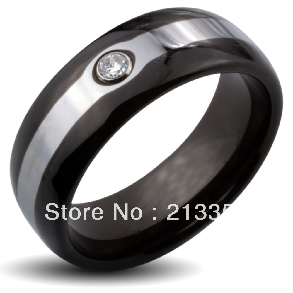 Free Shipping Buy Cheap Discount Price USA HOT Selling 8MM Men&Womens Black Dome With Zircon Two Tone Tungsten Wedding Rings(China (Mainland))