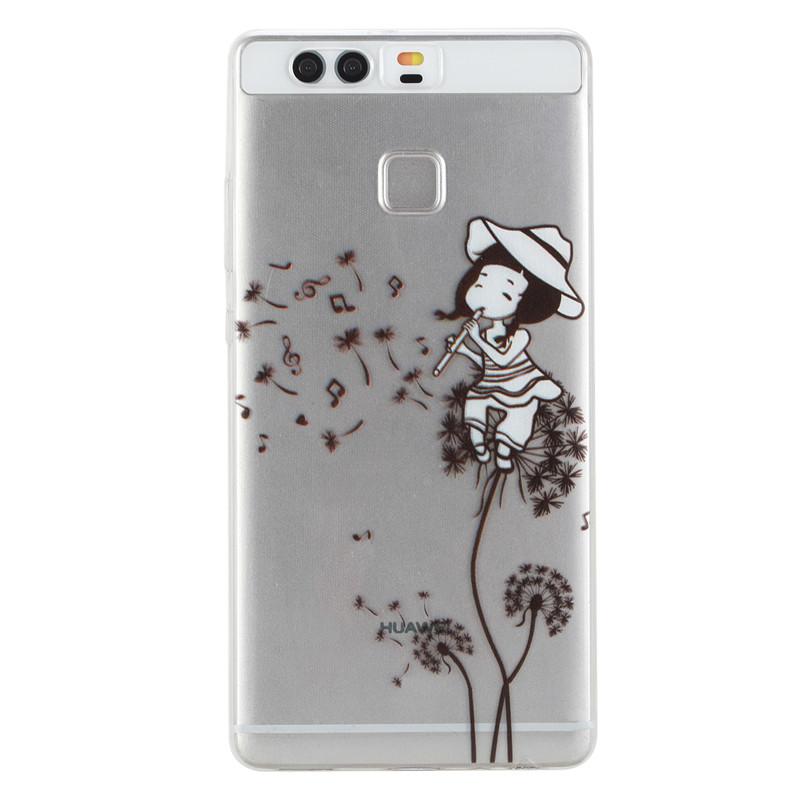 Phone Case Cover For Huawei P9 EVA-L09 EVA-L19 EV Transparent Red Lips Cat Sexy Lady Girls Fruit Pattern Soft TPU Housings Capa