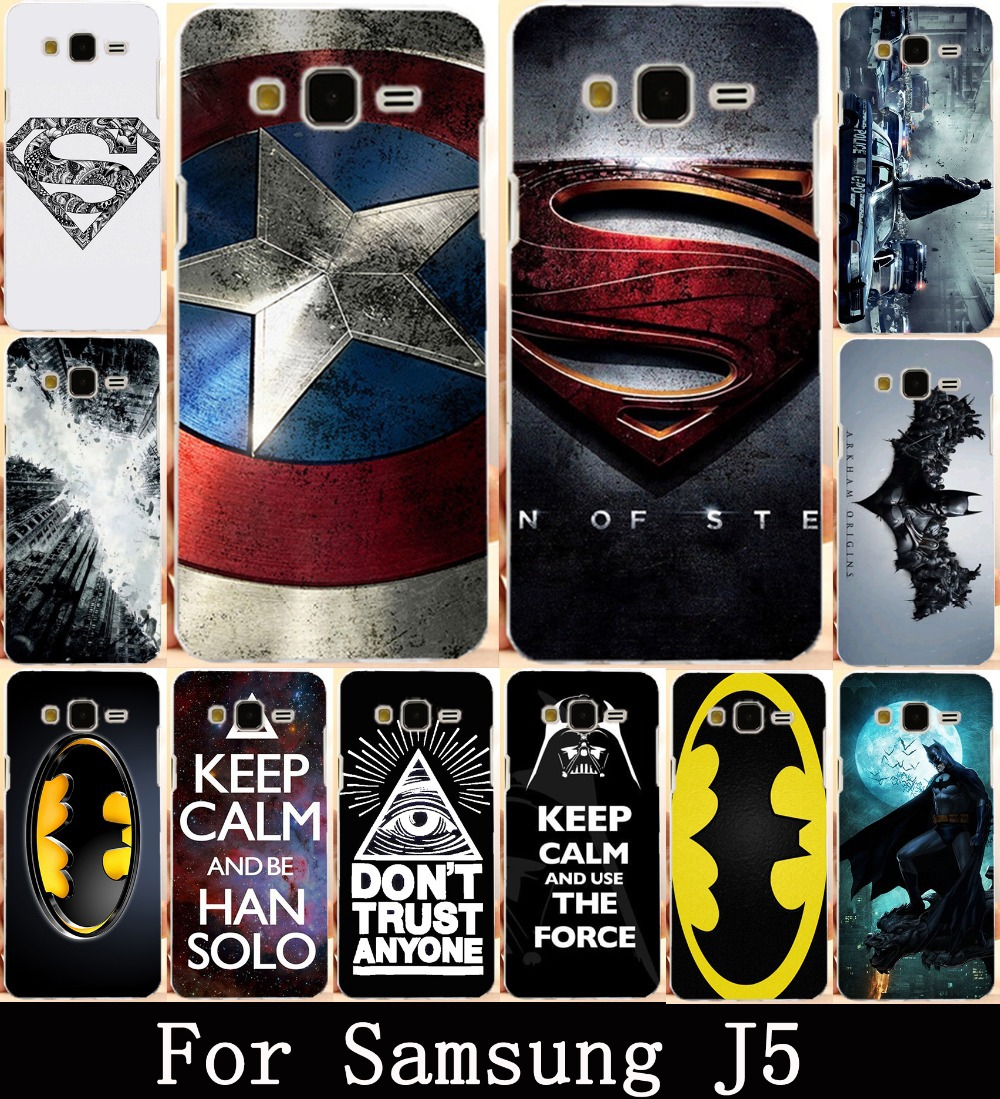 Cool Batman Captain American Phone Case Cover For Samsung Galaxy J5 2015 J500F YC955 5.0 inch Shell Hood Hard PC SKin Bags Cases(China (Mainland))