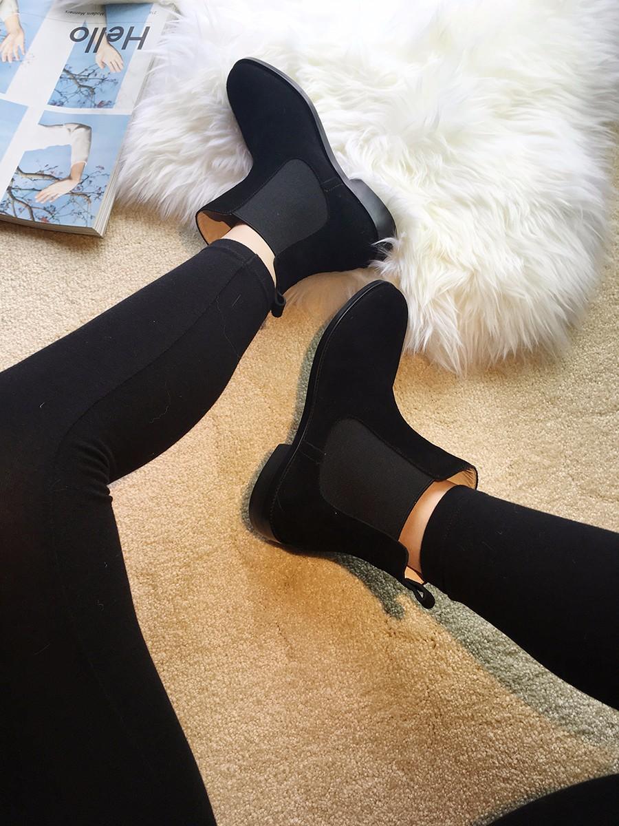 ซื้อ QMNผู้หญิงหนังแท้รองเท้าข้อเท้าสตรีเชลซีจัดส่งบนรองเท้าผู้หญิงรองเท้าฤดูหนาวสุภาพสตรีรูปนางแบบBotas Femininas