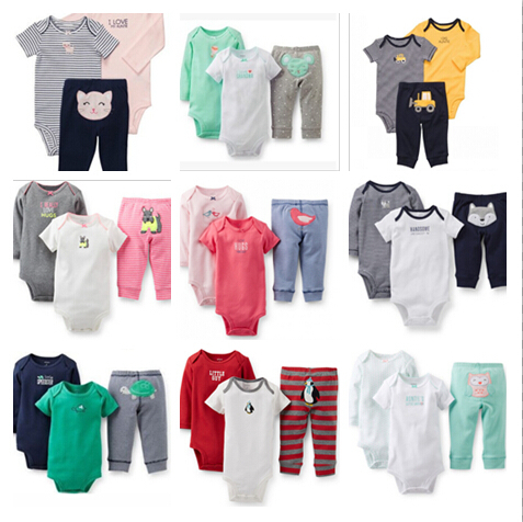 2015 new hot carter's style baby girl clothing set soft cotton boy newborn suits t shirt + rompers+pants 3 pcs/set and 2 ps/set(China (Mainland))