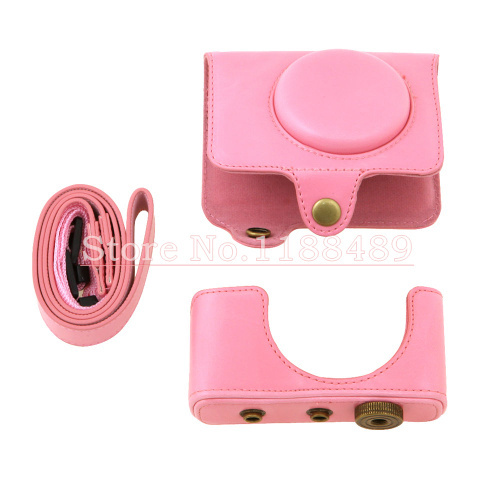 Pink New PU Leather Camera case bag Cover Pouch + Neck Strap for Fujifilm Fuji X-Q1 XQ1(China (Mainland))