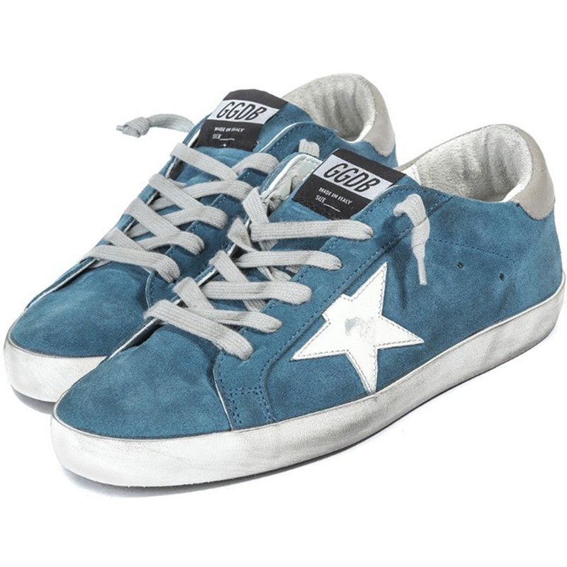 New Original Deluxe Brand Golden Goose Women Men GGDB Superstar Sneakers Fashionable Lace-Up Sky Blue Shoes Scarpe Casual Uomo