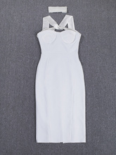 2015 women high quality women sexy white halter cut out celebrity bandage dress dress wholesale