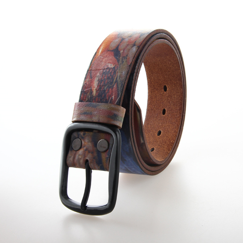 Hot Selling 100% Cowhide Genuine Vintage Leather Belts Adult Strap Unisex Pin Buckle Jeans Cowboy Casual Belt 4LU11(China (Mainland))