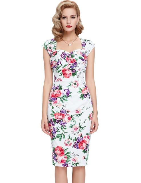 Короткие платья выпускного вечера красавица Poque хлопок печать ретро повязку спинки ...