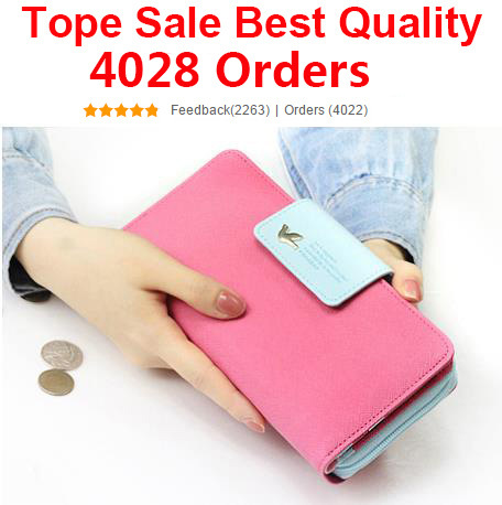 2015 Candy Color Women Brand Wallets Famous Designer PU Leather Long Wallet Coin Purses Ladies Monederos Women Wallets Free(China (Mainland))
