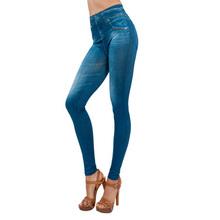 2016 Fashion Women Slim Jeggings Real Pockets Denim Leggings Seamless Linter Fitness Women Summer Pants Black Leggin