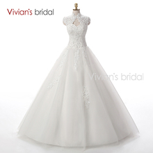 Vivian's Bridal Beaded Sequin A Line Lace Wedding Dress 2016 Weeding Tulle Cap Sleeve Long Wedding Gown WD3312(China (Mainland))