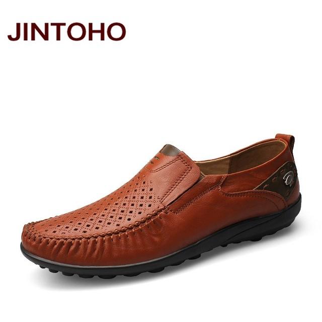 JINTOHO большой размер 37-46 мужская обувь весна и осень дышащий мокасины из натуральной ...