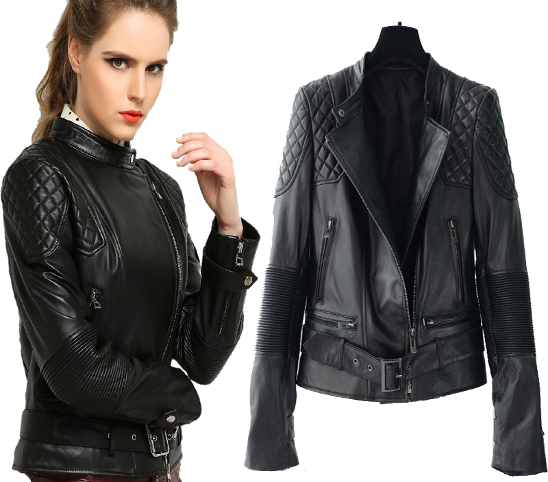 Factory Women Leather Jacket Belt Genuine Sheep Skin 6 Colors Fashion Short Slim Fit Motorcycle Biker Coat Spring Autumn ZH136(China (Mainland))