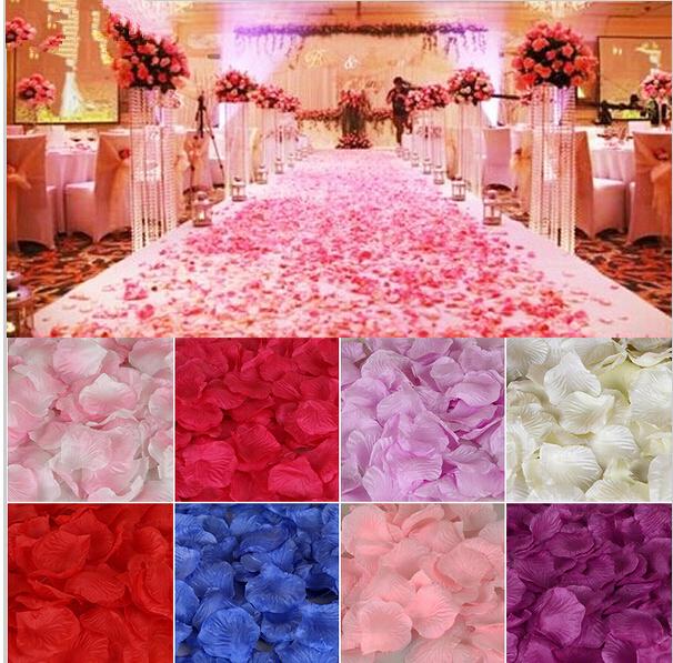 Wedding Favors Flower Petals Wholesale 1000pcs/set Wedding Decorations Fashion Atificial Flowers Polyester Wedding Rose Petals(China (Mainland))