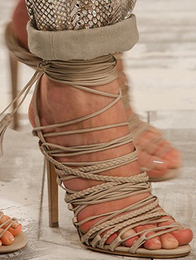 Beige Lace Up Heels