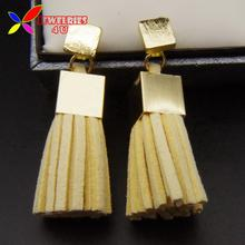 2016 New Hot Fashion Trendy Designer Multi-color Leather Tassel Gold Square Back Front Drop Earrings For Women Brincos Grandes(China (Mainland))