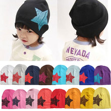 Five-pointed star autumn baby cap knitted warm cotton beanie hat for toddler baby kids girl boy printed baby winter hats W1