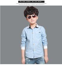 Brand Polka Dot DesignLong Sleeve Boys Shirts Spring & Fall Turn Down Collar Children Shirt Boy Formal Clothes For 4-14Years Old
