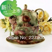 European Creative Bone China Gold Painting Red Flower Tea Set Tea Service Coffee Set