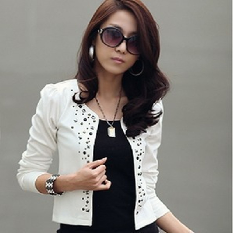 Black White Ladies Short Blazer Suit Cardigan Women Basic Jacket Coat Slim Commuter Rivet Jackets Leisure blazer feminino blaser - Maternity & Babys Heaven store