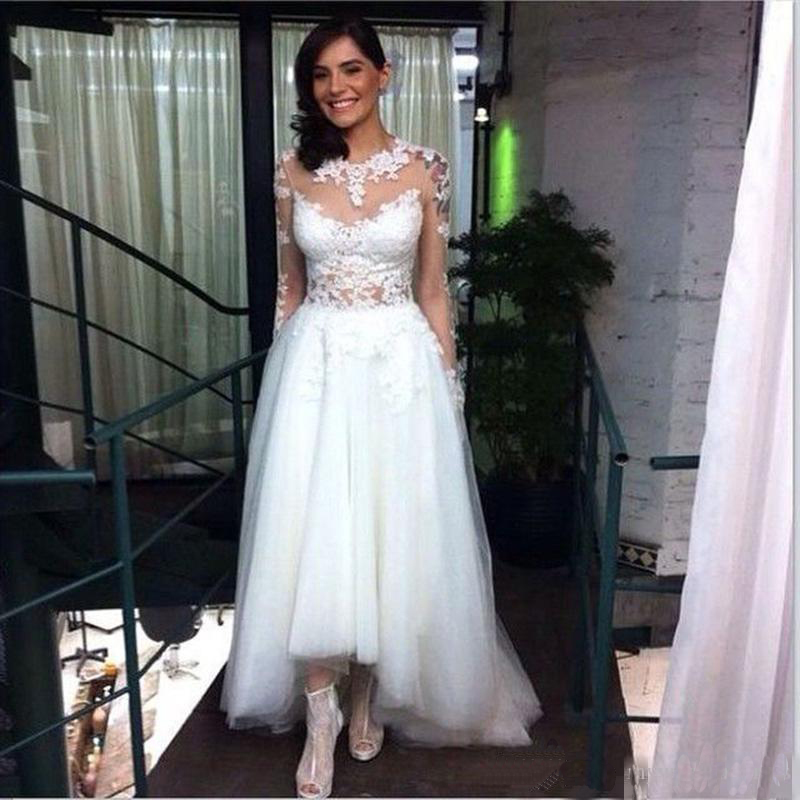Plus size high low wedding dresses with long lace sleeve for Long sleeve high low wedding dresses