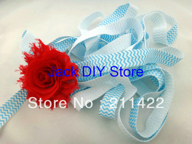 10 Yards Turquoise Chevron Fold Over  Elastic for Baby Headbands, 5/8 Elastic By The Yard Hair Accessorries