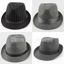 Autumn Casual Striped Men's Fedora Hats Style Chapeu Masculino Panama Jazz Gangster Caps Free Shipping CBDB-002(China (Mainland))