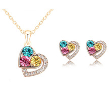 2015 New Arrival 18K Gold Plated Heart Crystal African Fashion Costume Jewelry Sets for Women Pendants Necklace Earrings Sets(China (Mainland))