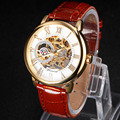 Mechanical Watches Men Leather Band Skeleton Golden Watch Luxury Brand 2017 New Female Business Clock relogios