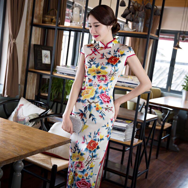 New Arrival Chinese Women's Fashion Long Cheongsam Summer Lady Silk Satin Qipao Dress Flower Size S M L XL XXL XXXL 368573(China (Mainland))