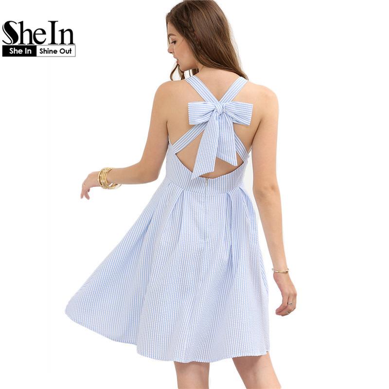 SheIn Fashion Women Summer Short Dresses Casual Ladies Blue Striped Sleeveless Crisscross Bow A Line Cute Dress(China (Mainland))