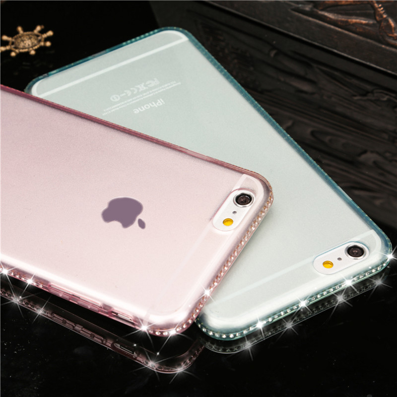 Luxury Shiny Rhinestone Phone Cases Cover for iPhone 6 6S 6Plus 6s plus 7 7Plus Diamond Soft TPU Clear Crystal Case for 5 5S SE(China (Mainland))